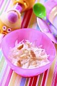 Pear yoghurt with sponge finger for children