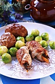 Turkey rolls with potatoes and Brussels sprouts