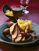Duck breast with shallots and quince puree