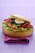Pan bagnat (Salad, anchovy and egg sandwich, Nice)