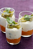 Savoury layered dish with pepper- and coconut cream