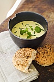 Herb cream soup with fresh herbs