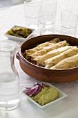 Turkey enchiladas, with guacamole
