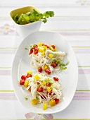 Rice vermicelli with peppers, garlic and coriander salsa