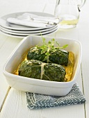 Oven-baked stuffed chard leaves with mushroom filling