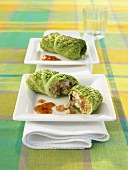 Steamed stuffed savoy cabbage leaves with mushroom filling