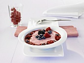 Cold mixed berry soup with rolled oats and buttermilk