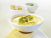 Potato foam soup with mushrooms