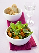 Carrot and mangetout salad with basil