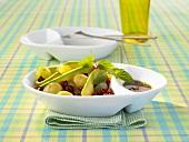 Pomegranate, avocado and grape salad
