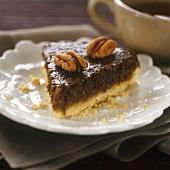 A piece of pecan tart