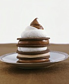 Chocolate rounds with cream filling