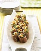 Ham rolls filled with Caesar salad