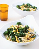 Linguine with broccoli rabe, bacon and sweetcorn kernels