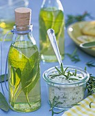 Herb oil with sage and herb salt with rosemary