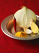 Onion, ginger, garlic, turmeric, chilli (Burmese cuisine)