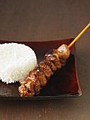Beef teriyaki skewer with rice (Japan)