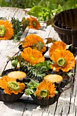 Marigolds and candles (table decoration)