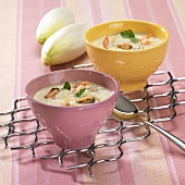 Chicory soup with seafood