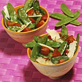Mangetout salad with Parmesan