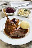 Roast goose with potato dumpling, red cabbage & sauerkraut