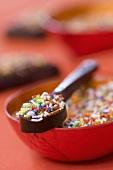Zuckerstreusel im Schälchen und auf Löffel aus Schokolade