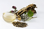 Great burdock: tea, root and plant