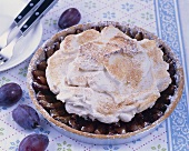 Damson tart with cinnamon meringue