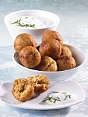 Middle Eastern lentil balls with yoghurt dip