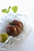Two tomatoes on muslin