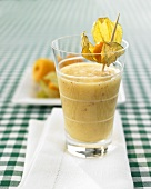 Apricot smoothie, decorated with physalis