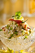 Cod ceviche with lime and chillies on ice