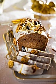 Iced ginger cake with nuts for Christmas