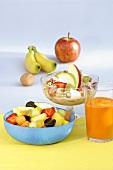 Fruit salad, muesli and fruit juice