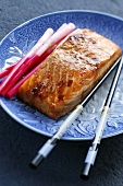 Fried salmon fillet with ginger sprouts (Japan)