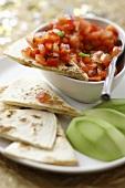 Tomato salsa and avocado with wheat tortilla