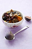 Dried fruit in honey syrup and fresh figs
