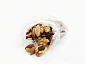 Mixed nuts in a plastic bag