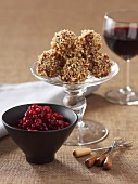 Cranberries and caramel nut balls
