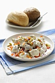 Herring salad with diced peppers and mayonnaise
