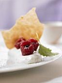 Stuffed raspberries on vanilla quark