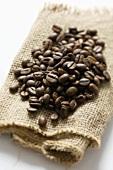 Coffee beans on jute sacking