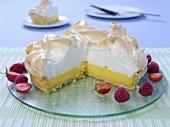 Lemon meringue pie, pieces removed