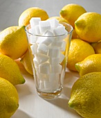 Glass filled with sugar cubes surrounded by lemons