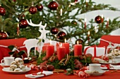 A Christmassy table laid for coffee