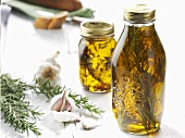 Herb oil, garlic and rosemary