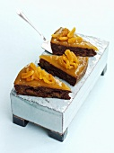 Apricot chocolate cake with rum