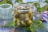 Brussels sprouts with dill in a preserving jar