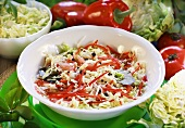 White cabbage and red pepper salad