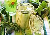 Mustard pickle in a preserving jar